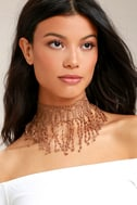 Natalie B Beverly Brown Lace Choker Necklace 1