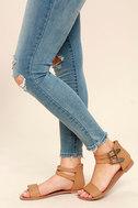 Dorinda Camel Burnished Ankle Strap Flat Sandals 2