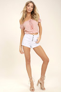 Plant a Garden Blush Pink Off-the-Shoulder Crop Top 2