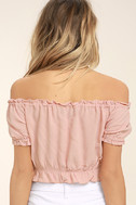 Plant a Garden Blush Pink Off-the-Shoulder Crop Top 4