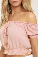 Plant a Garden Blush Pink Off-the-Shoulder Crop Top 5