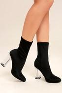 Antoinette Black Lucite Mid-Calf Boots 1