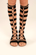 Hasna Black Suede Tall Gladiator Sandals 2