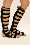 Hasna Black Suede Tall Gladiator Sandals 3
