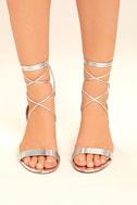 Daya by Zendaya Salem Silver Lace-Up Heels 2