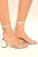 Daya by Zendaya Salem Silver Lace-Up Heels 3
