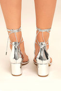 Daya by Zendaya Salem Silver Lace-Up Heels 4