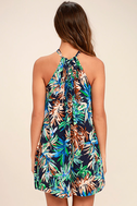 Once a Palm a Time Navy Blue Tropical Print Swing Dress 4