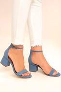Steve Madden Irenee Light Blue Nubuck Leather Ankle Strap Heels 2