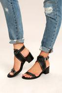 Steve Madden Gila Black Studded Ankle Strap Heels 2