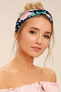 Strawberry Delight Navy Blue Print Headband 1