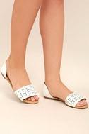 Voleta White Cutout Peep-Toe Flats 2