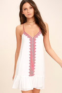 Sweeten the Deal Red and White Embroidered Dress 1