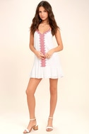 Sweeten the Deal Red and White Embroidered Dress 2