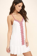 Sweeten the Deal Red and White Embroidered Dress 3