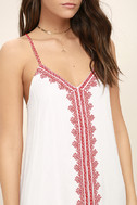 Sweeten the Deal Red and White Embroidered Dress 5