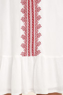 Sweeten the Deal Red and White Embroidered Dress 6