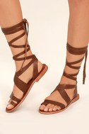 Sbicca Zaylee Brown Leather Lace-Up Flat Sandals 1