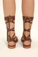 Sbicca Zaylee Brown Leather Lace-Up Flat Sandals 4