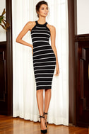 Adaptable Black and White Striped Pencil Skirt 1