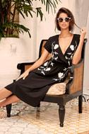 I Heart You Black Embroidered Midi Dress 2