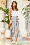 Love Sweet Love Grey Striped Midi Skirt 2