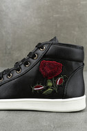 Cynara Black Embroidered High-Top Sneakers 7