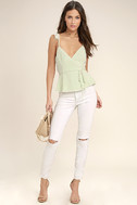 Totally In Love Mint Green Wrap Top 2