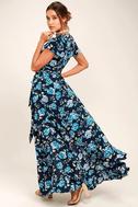 Hydrangea Hideout Navy Blue Floral Print Wrap Maxi Dress 4