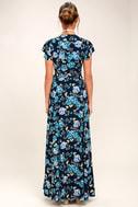 Hydrangea Hideout Navy Blue Floral Print Wrap Maxi Dress 5