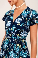 Hydrangea Hideout Navy Blue Floral Print Wrap Maxi Dress 6