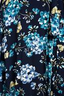 Hydrangea Hideout Navy Blue Floral Print Wrap Maxi Dress 7