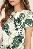 Give Me a Print Ivory and Green Print Shift Dress 5