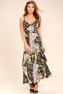 Incense and Peppermints Black Floral Print Maxi Dress 1