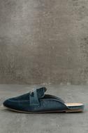 Nyssa Blue Velvet Loafer Slides 2