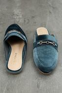 Nyssa Blue Velvet Loafer Slides 3