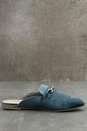 Nyssa Blue Velvet Loafer Slides 4