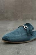 Nyssa Blue Velvet Loafer Slides 6