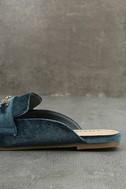 Nyssa Blue Velvet Loafer Slides 7
