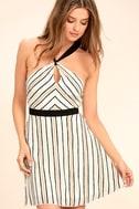 Spontaneous Trip White Striped Halter Dress 1