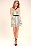Spontaneous Trip White Striped Halter Dress 2