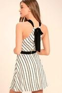 Spontaneous Trip White Striped Halter Dress 3