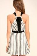 Spontaneous Trip White Striped Halter Dress 4