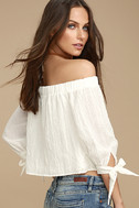 Tender Moments White Off-the-Shoulder Crop Top 3