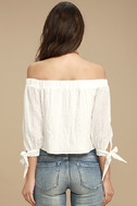 Tender Moments White Off-the-Shoulder Crop Top 4