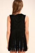 PPLA All Nighter Black Suede Fringe Vest 4
