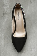 Circe Black Embroidered Pointed Pumps 5