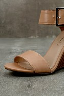 Neysa Natural Ankle Strap Wedges 6