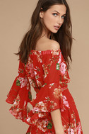 Naturally Charming Red Floral Print Off-the-Shoulder Crop Top 4
