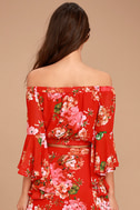 Naturally Charming Red Floral Print Off-the-Shoulder Crop Top 5